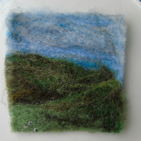 Needle felted picture - Yorkshire Dales Sheep scene 4 x 4 ins