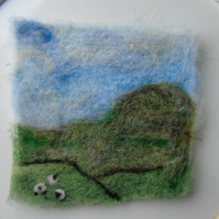 Needle felted picture - Yorkshire Dales   4 x 4 ins
