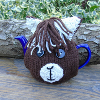 knitted tea cosy, Alpaca face Tea cosy - to fit a small 1 or 2  cup teapot,