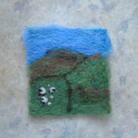 Needle felted picture - Yorkshire Dales Sheep and lambs scene 4 x 3.75 ins