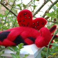 Needle felt dragon, Red and black, winged dragon, baby dragon
