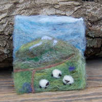 Needle felted picture - Yorkshire Dales Sheep Winter scene 4 x 4 ins