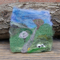 Needle felted picture - Yorkshire Dales lambing season sheep scene 4.5 x 4 ins
