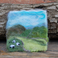 Needle felted picture - Yorkshire Dales  Landscape Sheep  scene 4 x 4 ins
