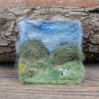 Needle felted picture - Yorkshire Dales Sheep  scene 4 x 4.25 ins
