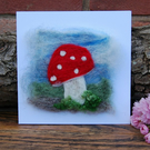 Birthday card, Mushroom Needle felt wool, New Home card