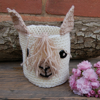 Crochet basket, Cute Alpaca small basket -  Or use to cover a plant pot or jar
