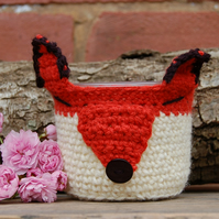 Cute Fox small basket -  Or use to cover a plant pot or jar