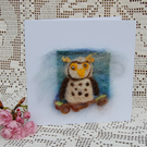 Birthday card. Needle felt owl. Blank greetings card with owl design