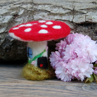 Needle felt fairy house,  mushroom, gnome home, fantasy cottage,