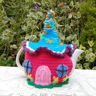 tea cosy, Crochet Fairy cottage colourful tea cosy for a large teapot