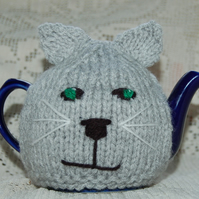 Cat Tea cosy - to fit a small 1 or 2  cup teapot, knitted tea cosy Grey tea cosy