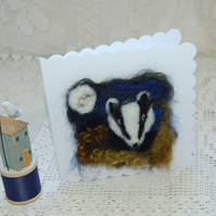 Birthday card. Needle felt Badger. Blank greetings card with Badger design