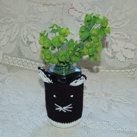 Cute cat Jar cover, small basket -  Glass Jar Vase Hand Wash Cover
