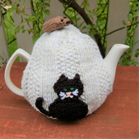 Cat tea cosy - hand knitted - to fit a large teapot  Black Cat and brown mouse