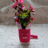 Crochet small basket. Glass Jar, Vase, Hand Wash Cover - Cute bright pink cat