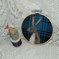 Hare picture, wool art picture in hoop frame, wool fabric, needle felted