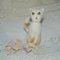 Needle felt ginger cat, collectable animal sculpture, ornament or decoration