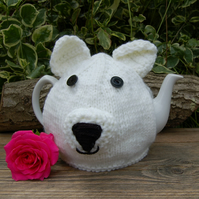 Polar Bear tea cosy - hand knitted - to fit a large standard teapot - cute cosy