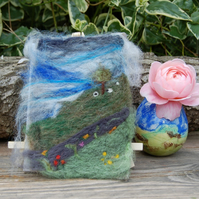 Needle felted picture - Yorkshire Dales Landscape, dry stone wall and  Sheep