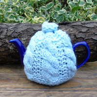 Tea Cosy Duck Egg Cable - to fit a small 1 cup  teapot, knitted tea cosy
