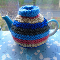 Colourful tea cosy, hand knitted tea cosy, medium 2 cup tea cosy