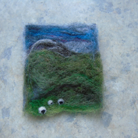 Needle felted picture - Yorkshire Dales Sheep Winter scene 3.5 x 4 ins