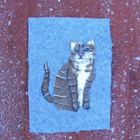 Needle felted picture - Tabby Cat - Cat picture