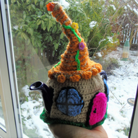 Crochet Fairy cottage tea cosy, colourful tea cosy for a small one cup teapot