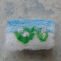 Needle felt brooch Snowdrops in the snow -  ladies jewellery wool badge wool art
