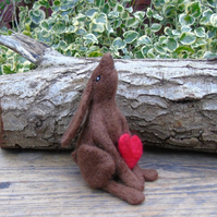 Needle Felt Hare with heart, brown hare, moon gazing hare, wool hare