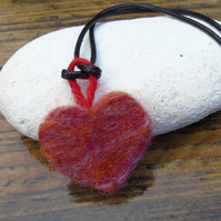 red marble effect needlefelt wool heart pendant, necklace, hanging