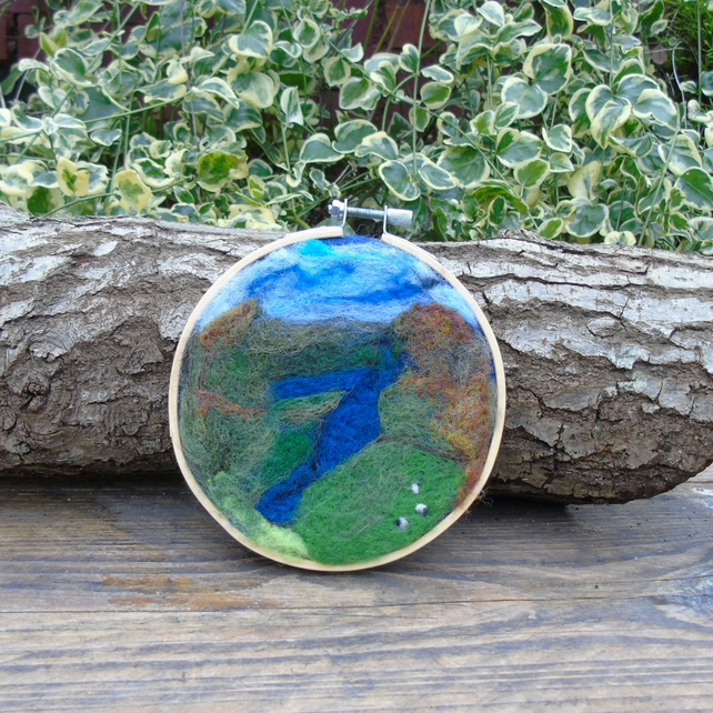 Lake District wool art picture in hoop frame, wool fabric, needle felted