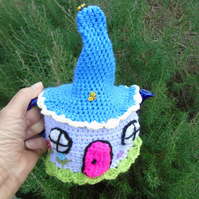 Crochet Fairy cottage tea cosy, colourful tea cosy for a small teapot