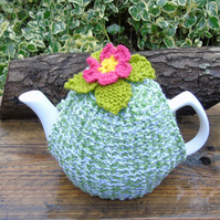 Hand knitted tea cosy to fit a large standard size teapot floral tea cosy