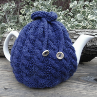 Knitted tea cosy cable design in violet and blue tones, large tea cosy