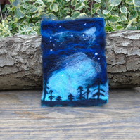 Needle felted picture - Northern Lights - Night sky - Aurora Borealis