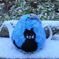 Cat tea cosy - hand knitted - to fit a large teapot  Black Cat and grey mouse