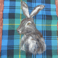 Hare picture, wool art picture , wool tartan fabric, needle felted hare portrait