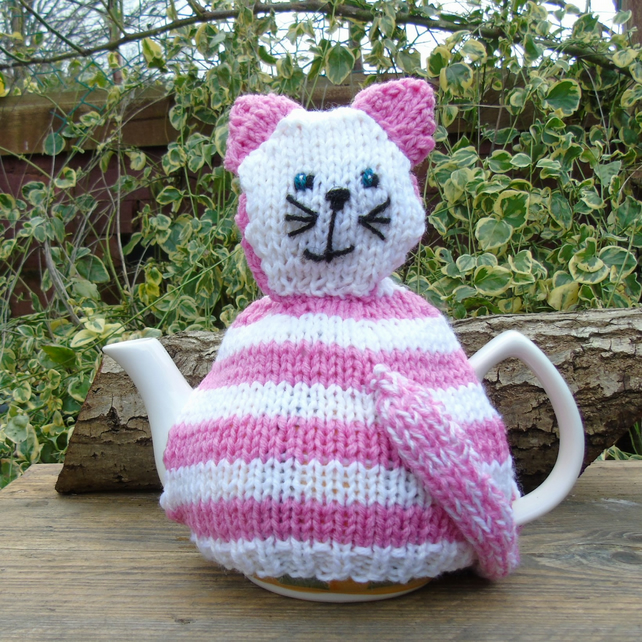 Cat tea cosy - hand knitted - to fit a large teapot  Pink stripe Cat -