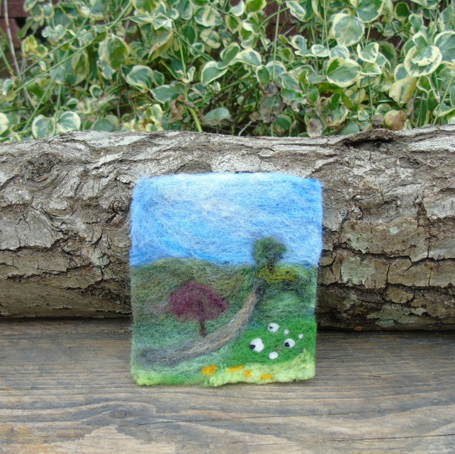 Needle felted picture - Yorkshire Dales Sheep and lambs scene 3.5 x 4.25 ins