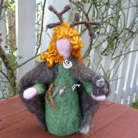 Elen of the Ways, antler headed goddess - needle felt figure