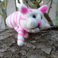Cat,  needle felt cat,  pink and white cat