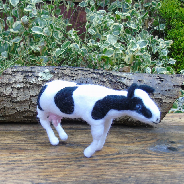 Frisian Cow - black and white cow - hand made needle felted