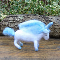Blue and White Unicorn, needle felt unicorn,