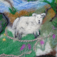 Yorkshire Landscape wet felted picture needle felt details ready for framing