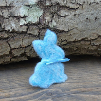 Needle felt brooch blue rabbit ladies jewellery wool badge wool art Easter