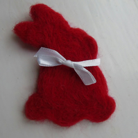Needle felt brooch red rabbit ladies jewellery wool badge wool art Easter