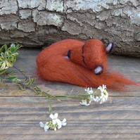 Fox curled up asleep.  Fibre Art collectable fox, needle felt fox