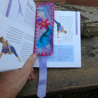 Hand stitched book mark Wet felted base, embroidered flower, wool fabric reverse